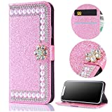 Stysen Wallet Case for Huawei Mate 10 Pro,Shiny Pearl Pattern Pink Bookstyle with Strass Flower Buckle Protective Wallet Case Cover for Huawei Mate 10 Pro-Flower,Pink