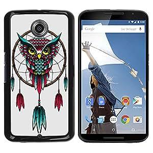 - Dream Catcher - - Monedero pared Design Premium cuero del tir¨®n magn¨¦tico delgado del caso de la cubierta pata de ca FOR Google Nexus 6 & Motorola Nexus 6 Funny House