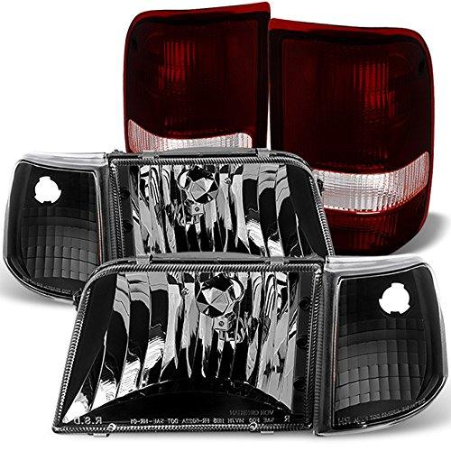 For 1993-1997 Ford Ranger Black Headlights+ Black Corner Signal+ Dark Red Tail Lights ()