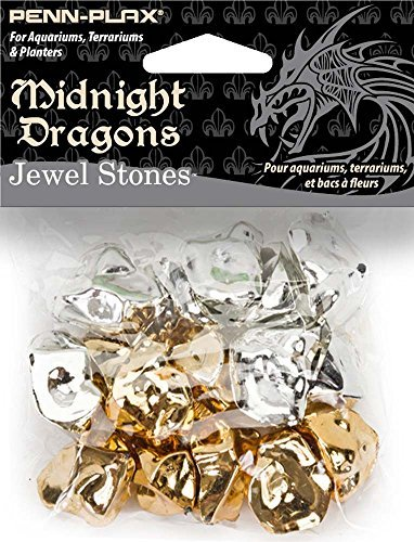 Penn Plax Midnight Dragons Jewel Stones Acrylic Decoration 16 Pc Gold & Silver Colors, Mixed