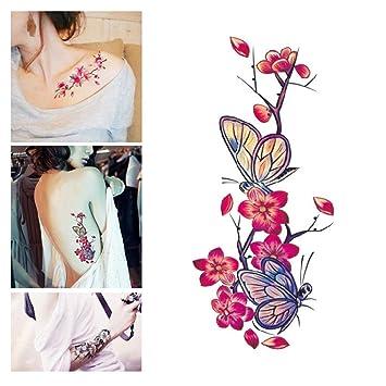 61a5ced2f Amazon.com : Ecosin Sexy Cherry Blossom Butterfly Tattoo Sticker Temporary  Tattoos Stickers Lotus Cherry Blossoms Flash Tattoo Sticker (A) : Beauty