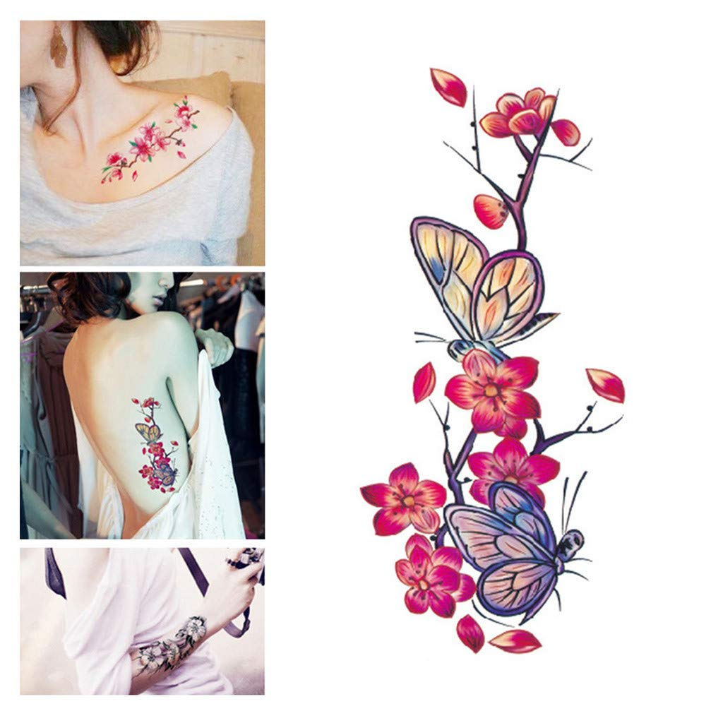 Temporary Tattoo Stickers Cherry Blossom Butterfly Flash Flower Tattoo Sticker Body Art Makeup Waterproof Stickers Arm Shoulders Waist Chest Back Tattoo Stickers for Women Teens Girls Kids (Black)