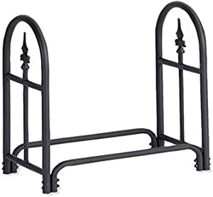 Plow & Hearth 10117 Heavy Duty Steel Outdoor Firewood Rack with Finial Design