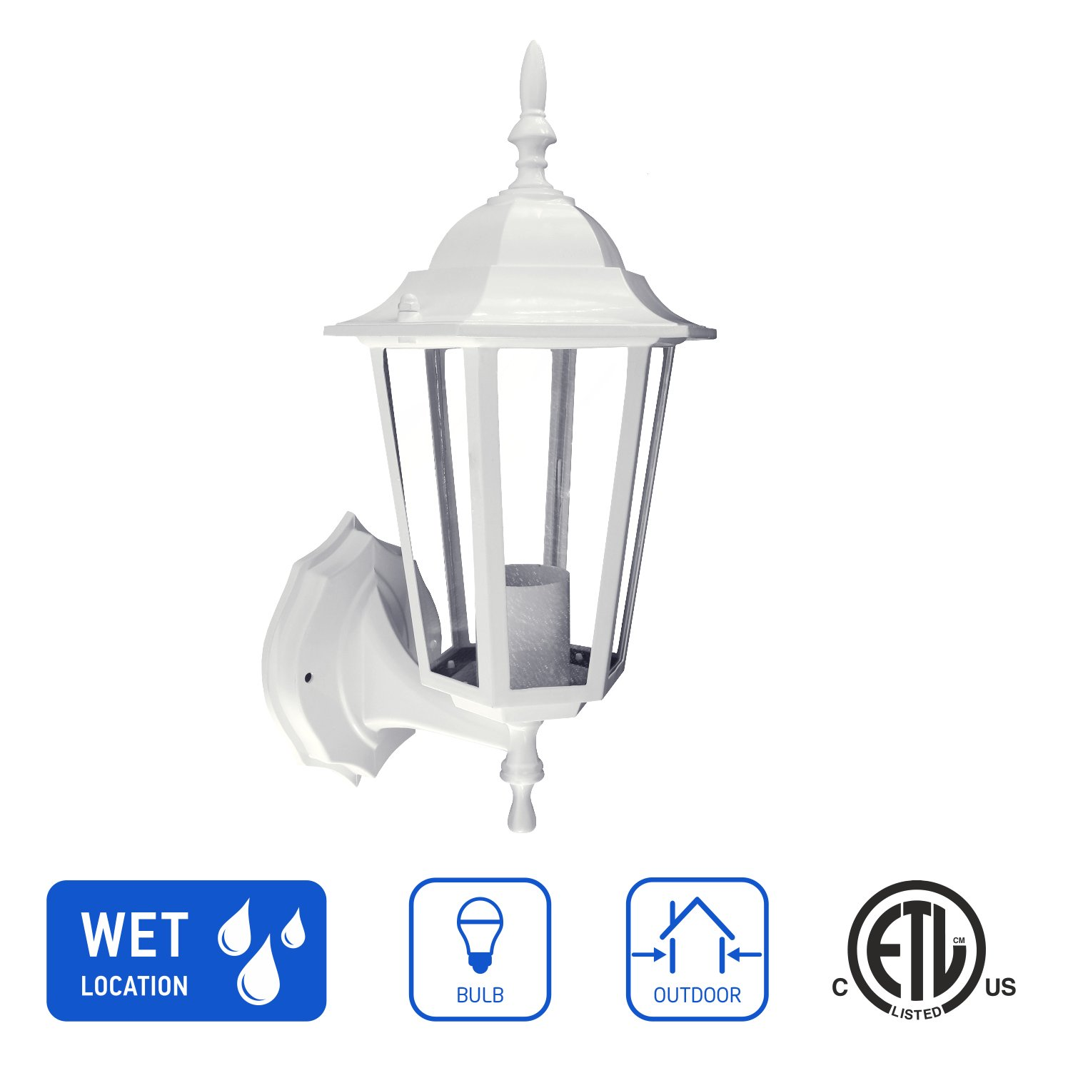 IN HOME 1-Light Outdoor Exterior Wall Up Lantern, Traditional Porch Patio Lighting Fixture L01 with One E26 Base, Water-proof, White Cast aluminum Housing, Clear Glass Panels, ETL Listed