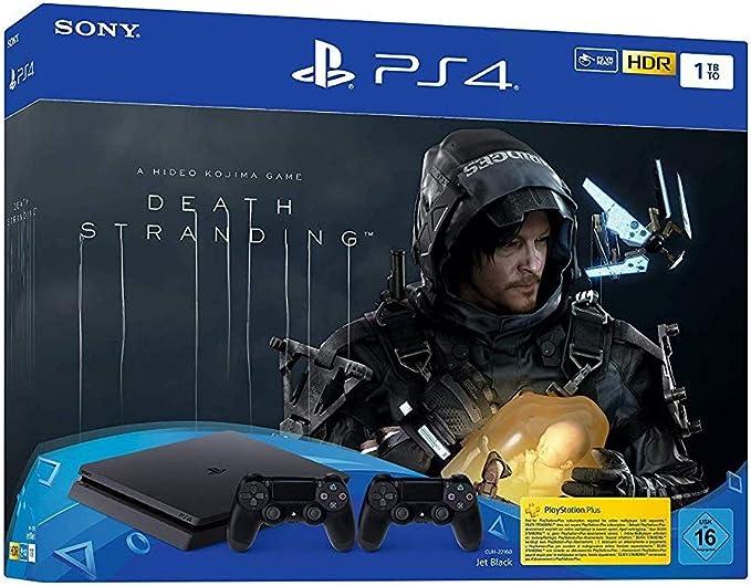 PlayStation 4 Slim inkl. 2 Controller und Death Stranding - Konsole (1TB, schwarz, Slim) [Importación alemana]: Amazon.es: Videojuegos