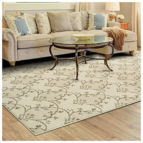 Superior Aberdeen Collection Area Rug, 8mm Pile Height with Jute Backing, Geometric Crosshatch Nature Motif, Fashionable and Affordable Woven Rugs - 4' x 6' Rug (Rug Blue Brown Green)