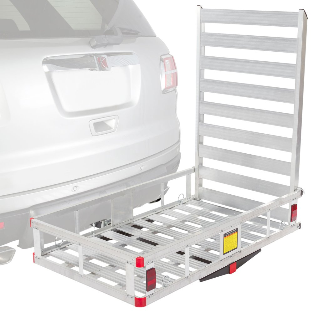 Aluminum Hitch Cargo Carrier Utility Basket with Loading Ramp