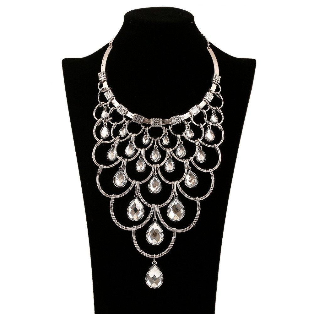 Fashion Metal Style Multi-level Crystal CZ Charm Necklace Collar Bib for Women