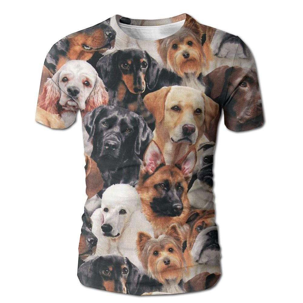 XIA WUEY Puppy Face Men'sPopular Baseball Tshirt Graphic Tees Tops For Running by XIA WUEY