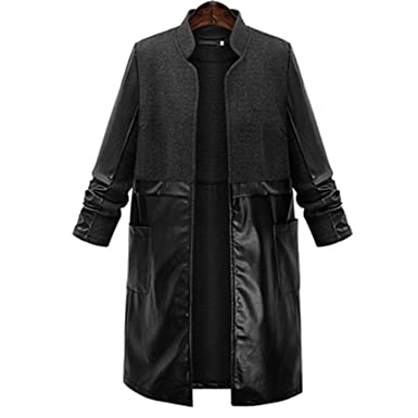 Solme Plus Size Women Trench Coat Leather Women Patchwork Long Coat New Autumn Winter Casual Fashion