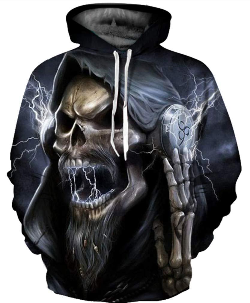 Gludear Unisex Realistic Cool 3D Halloween Skull Print Pullover Hoodie Hooded Sweatshirt,2X