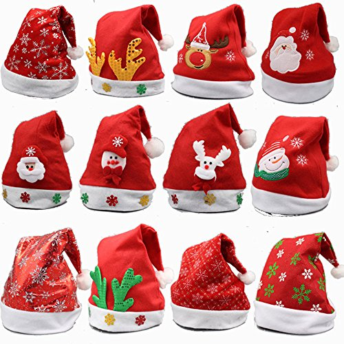 YAMULA 8 Pack Christmas Hat for Childrens and Adults, Non-Woven Pleuche New Hats for Celebrations and -