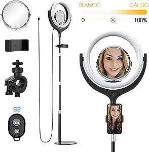 Yoozon Anillo de Luz LED Fotografía con Espejo cosmético y Soporte, 26cm Ring Light iluminación 10W, Control inalámbrico Bluetooth, Brillo Regulable para movil, Youtube, Selfie Video de Maquillaje