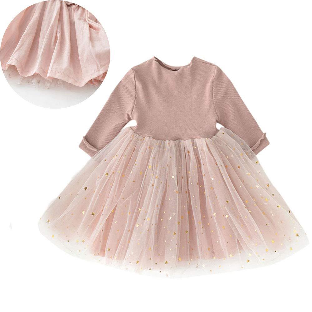Sanyalei❤ Baby Girls Toddler Tutu Dress Long Sleeve Princess Infant Tulle Sundress