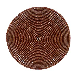 Set of 6 - Handmade Glass Beaded Coaster for Coffee Table Maroon - Home Furnishing Dining Set - Dia 4 Inches