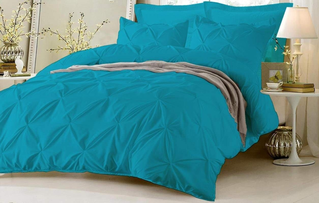 Luxury Pinch Pleated/Pintuck Egyptian Cotton 625 TC Decorative 1-Piece Duvet Cover Zipper Closer With Corner Ties, Super King (98 x 108 Inch) Size, Soft, Hypoallergenic, Turquoise Blue Solid