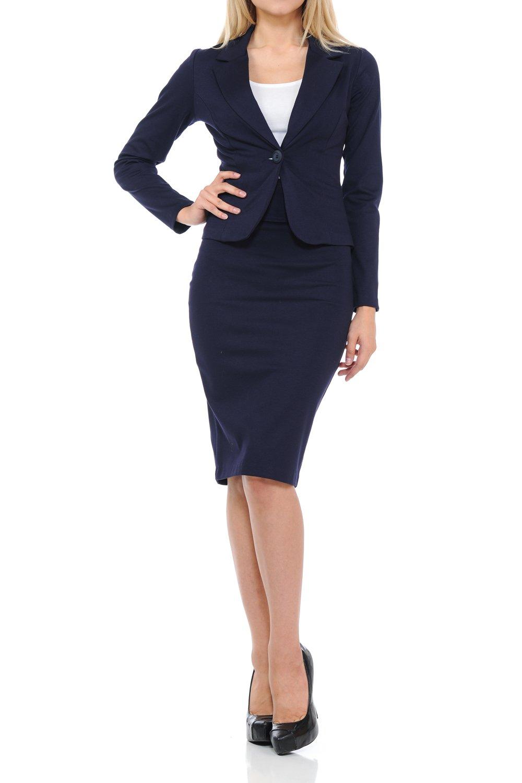 Sweethabit Womens Wear to Work Solid Skirt Suit Set (1X Plus, 3127N-3087N Navy)