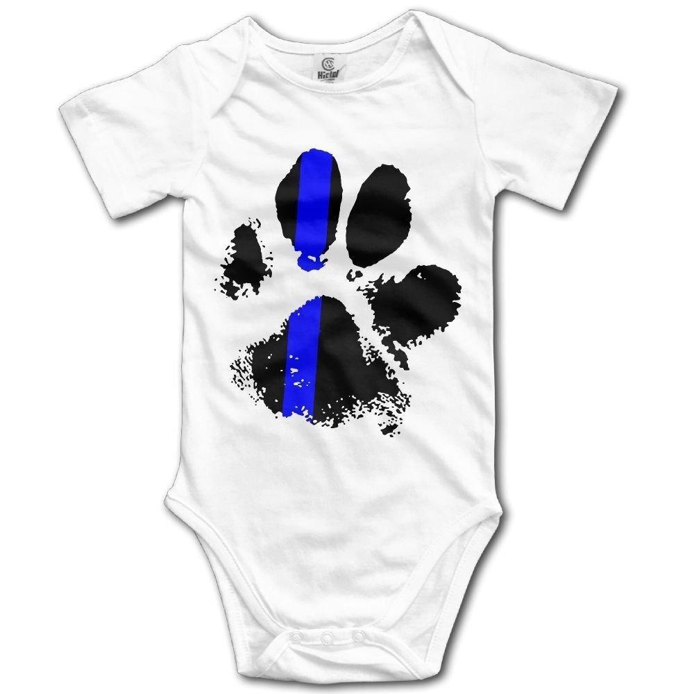Blue Line Paw Infant Baby Boys Girls Crawling Suit Short Sleeves Onesie Romper Jumpsuit