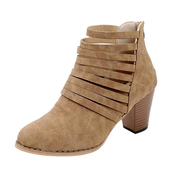 ❤ Botas Mujeres Cremallera Vitage, Mujeres otoño Tobillo Punta Redonda Roma Botas Cortas Zapatos Individuales Absolute: Amazon.es: Ropa y accesorios