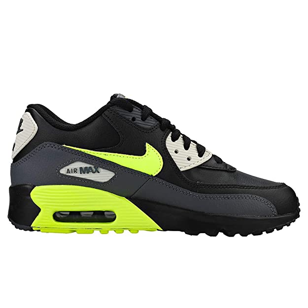 NIKE Youth Air Max 90 LTR Leather Dark Grey Volt Black Trainers 6.5 US