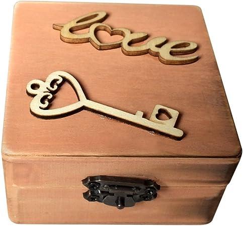 OUNONA Caja de madera para anillo de amor y llave Mini caja de madera para boda aniversario compromiso regalo recuerdo: Amazon.es: Hogar