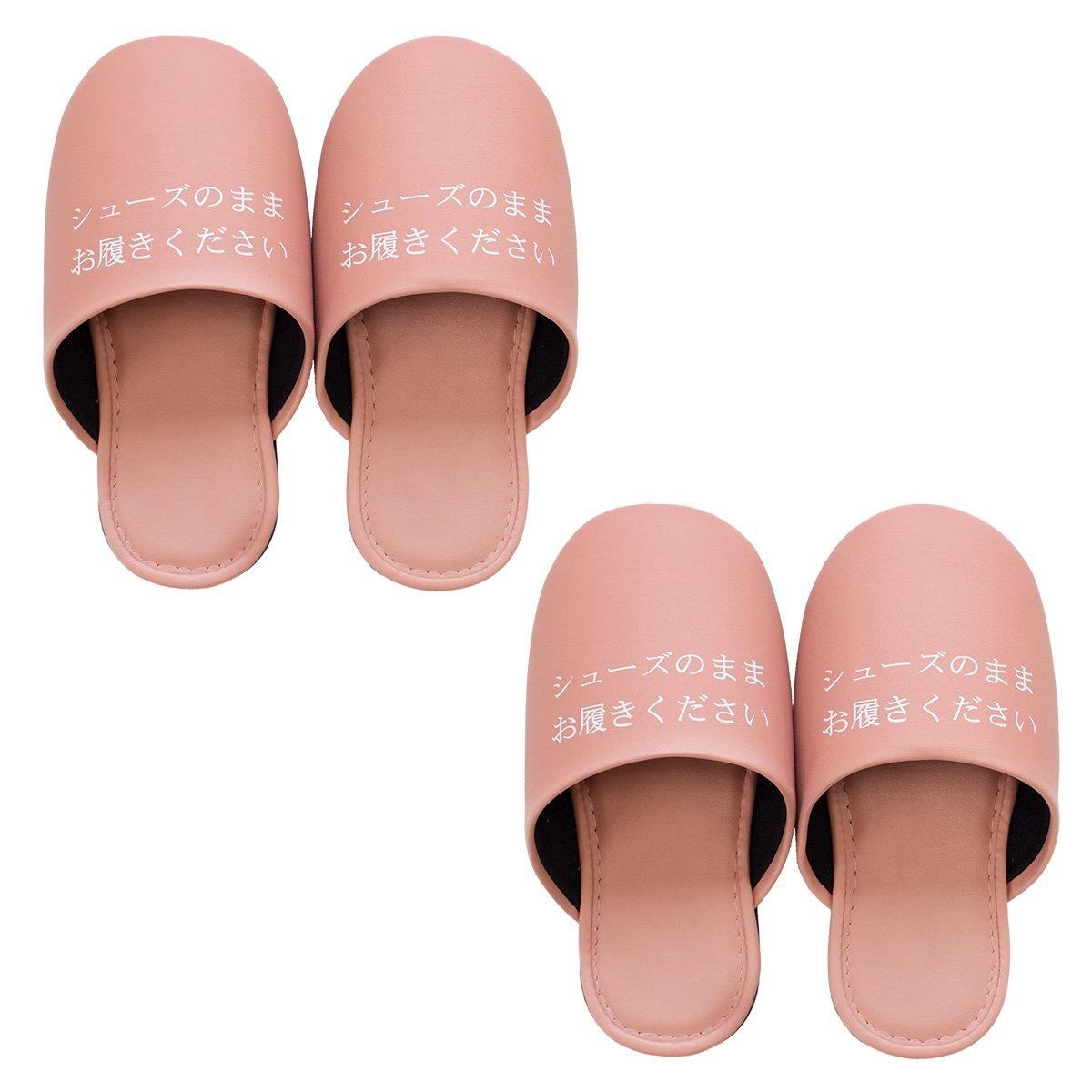オカ 【靴のままはける】 シューズそのまま スリッパ 2足セット (レディースサイズ, ピンク) B06XC6KSR4 レディースサイズ|ピンク ピンク レディースサイズ
