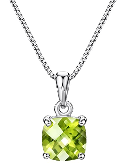 Amazon.com  2ct Peridot Pendant Necklace Sterling Silver Gemstone ... 10d881d9c983
