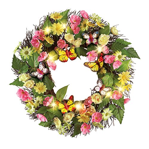 Collections Etc Lighted Butterfly Daisy Greenery Twig Wreath from Collections Etc