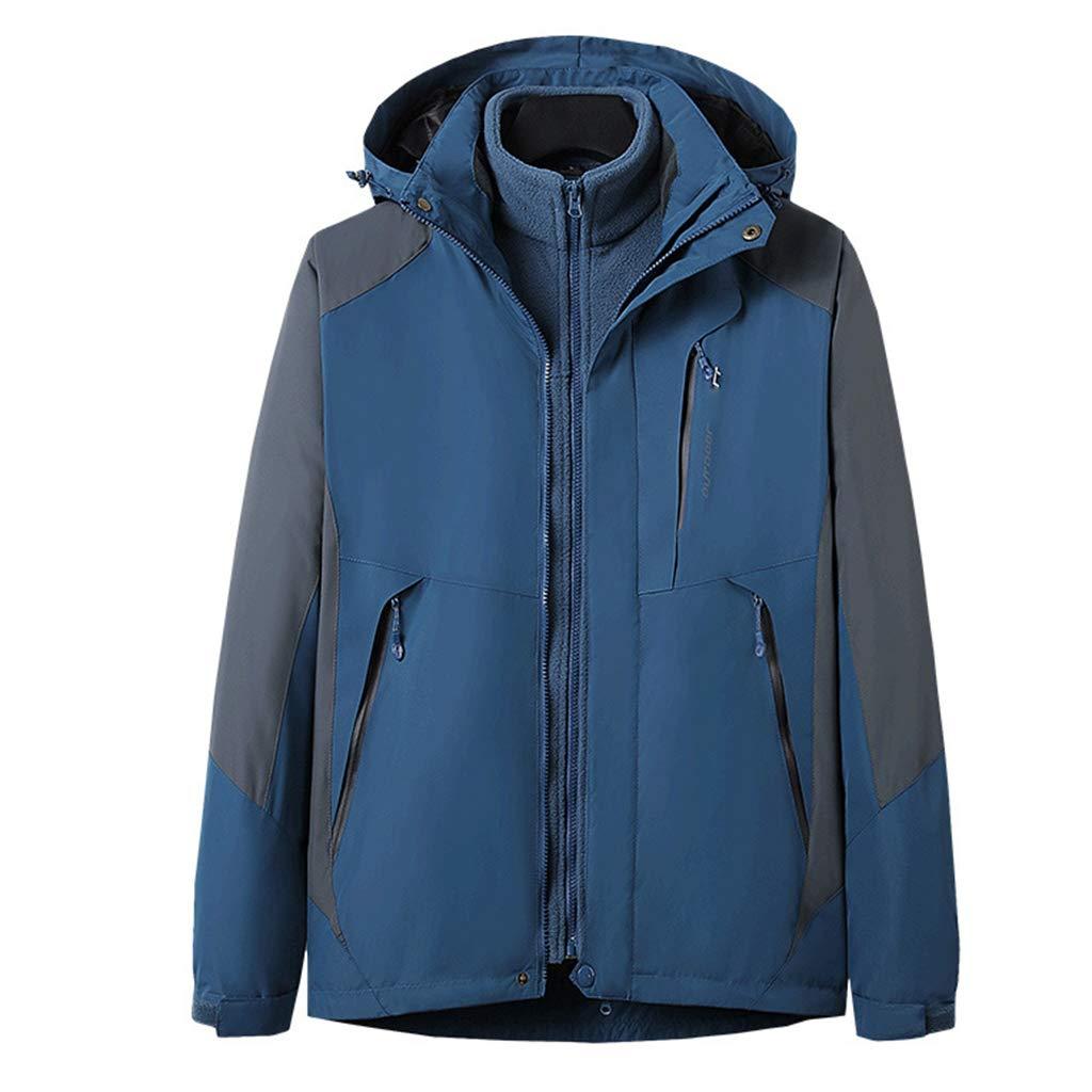WYGH Regenjacken für Herren wasserdichte Jacken Outdoor Softshell 3 in 1 Jacken Atmungsaktive Kapuze Regenmantel , Abnehmbare innere Fleecejacke für Ski Camping Windbreaker,Dark Blue-L