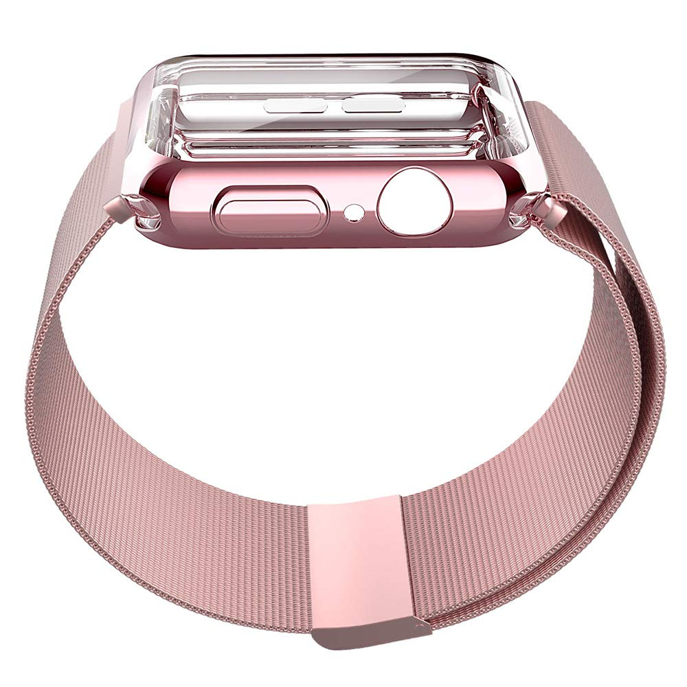 UPBAND Rose Pink Band with Case for Apple Watch Series 4 44mm, Band - Stainless Steel Adjustable Replacement Strap, Case - Overall Protection TPU Screen Protector, Ultra-Slim Compatible with iwatch by UPBAND