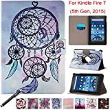 Folio Case for Kindle Fire 7 2015, Newshine PU Leather 360 Degree Rotating Ultra Slim Case with Card Slots for 2015 Amazon Kindle Fire 7 (Only Fit Fire 7'' Display 5th Generation) - Dreamcatchers