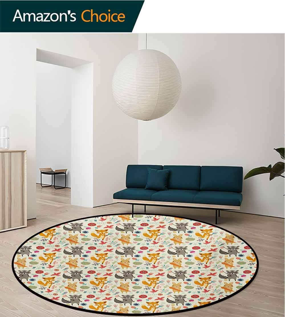 RUGSMAT Cartoon Animal Round Rug,Cute Pattern with Raccoon Rabbit and Fox Colorful Fantasy Nature Forest Life Carpet Door Pad for Bedroom/Living Room/Balcony/Kitchen Mat,Diameter-55 Inch