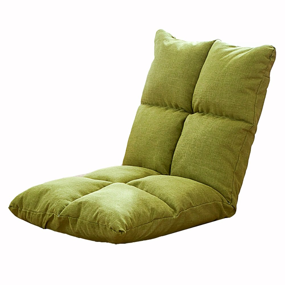 Foldable Lazy Sofa Recliners Adjustable Backrest Floor Small Seating Pad Balcony Bay Window Lounger Chair (Color : Fruit green)