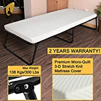 300lbs Max Weight Capacity Quictent Heavy durable Steel Frame folding bed for adult with White Comfortable Soft Micro-Quilt 3D Stretch Knit Mattress Cover and Bonus Storage Bag-75x31