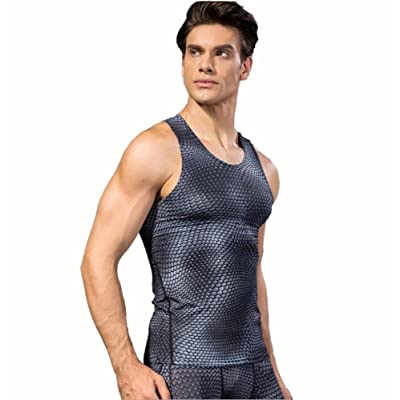 Kingswell Men's Pro Sport Quick Dry Tights Vest Compression Tank Tops Running Shirt