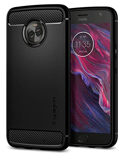 15c69fd45fd Amazon.com  Spigen Rugged Armor Designed for Motorola Moto X4 Case (2017)-  Black  Cell Phones   Accessories