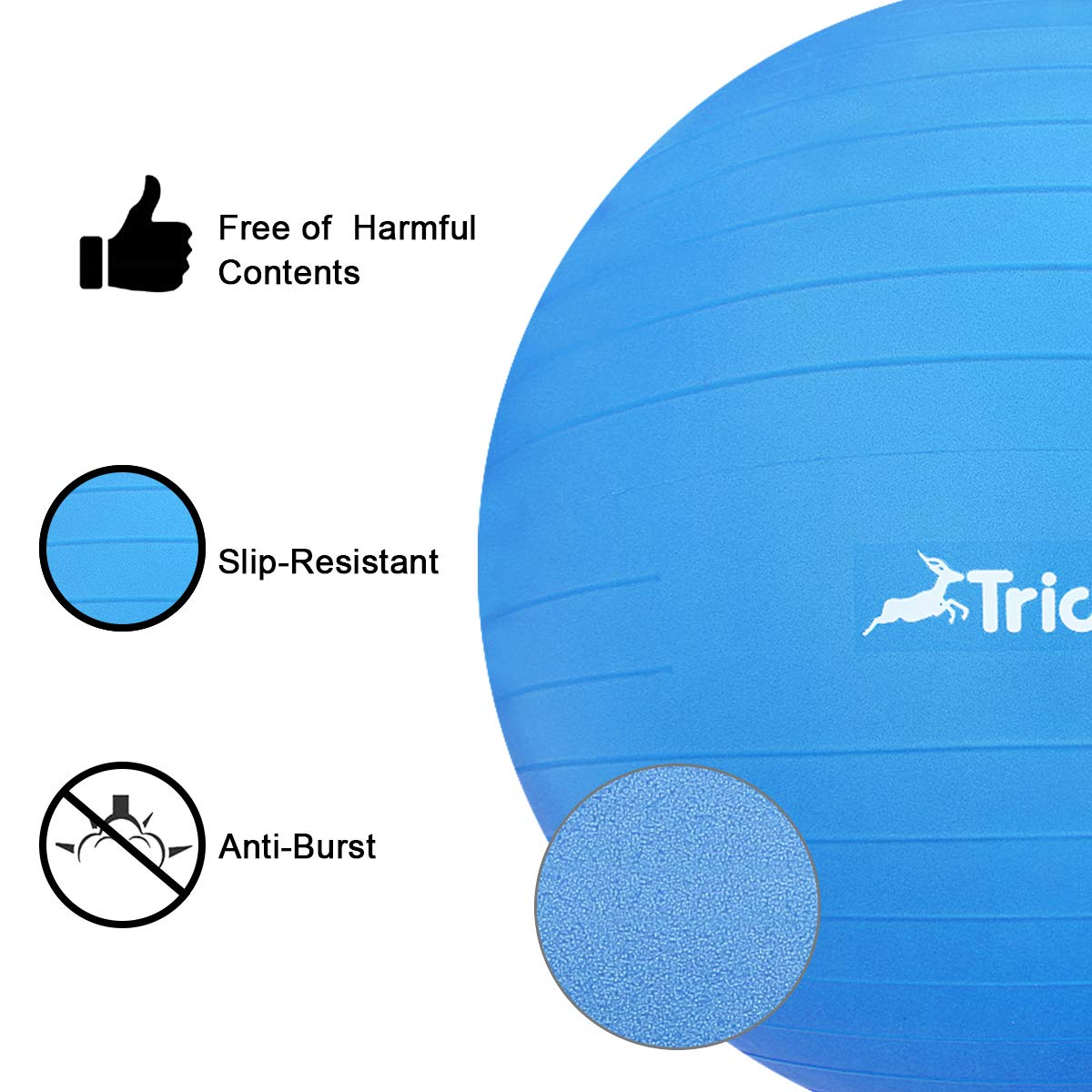 Trideer Exercise Ball (45-85cm) Extra Thick Yoga Ball Chair, Anti-Burst Heavy Duty Stability Ball Supports 2200lbs, Birthing Ball with Quick Pump (Office & Home & Gym) (Dark Blue, 55cm) by Trideer (Image #5)