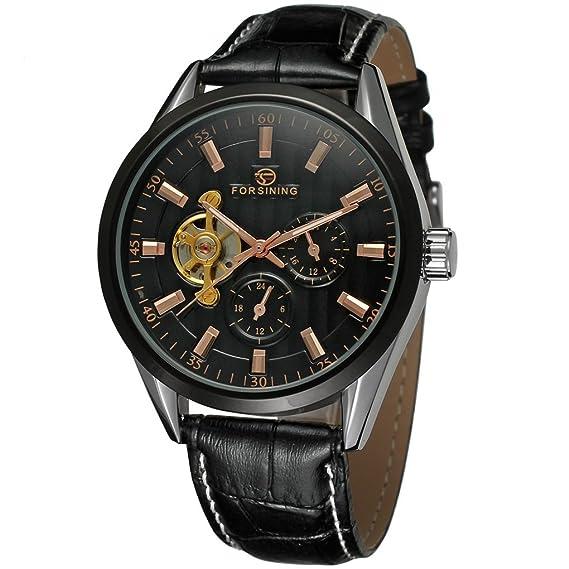 forsining reloj automático Original del Hombre con Negro esfera analógica pantalla fsg293 m3t2: Amazon.es: Relojes
