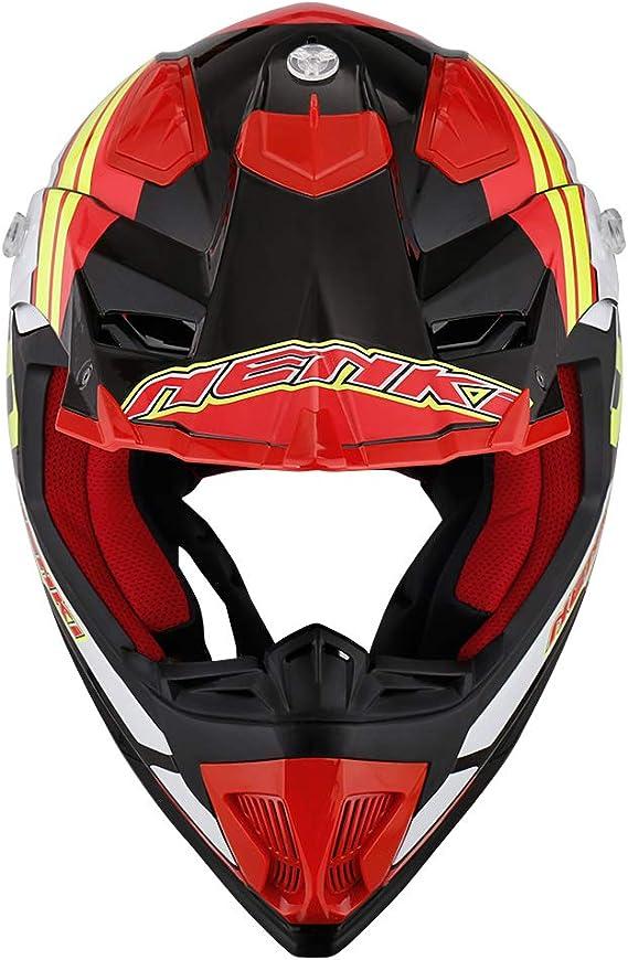 NENKI Casque Moto Cross NK-315 pour Hommes et Femmes ECE Approuv/és Noir Rouge Jaune, S