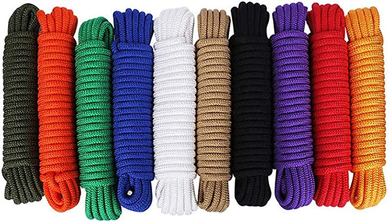 KALYON Premium Quality Double Braided Polyester Rope Camping Marine Boating Rope Sailing Multi-Purpose 1//2 90ft 12MM Nylon Rope