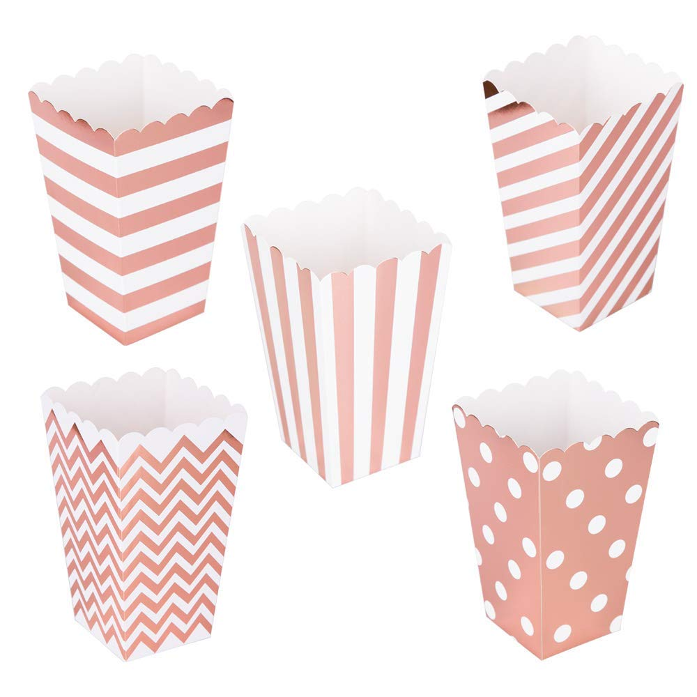 100 Pack Popcorn Party Favor Boxes, Mini Paper Popcorn Snack Containers Classic Popcorn Bags Rose Gold, 5 Attractive Patterns