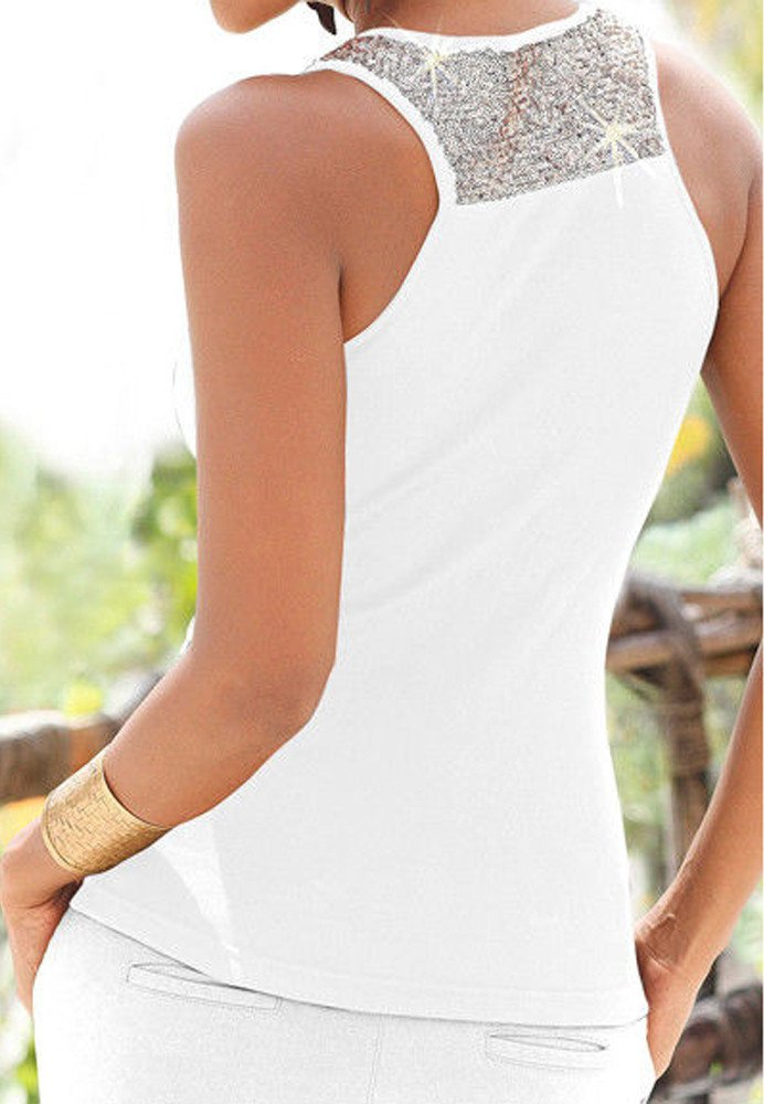 Women Tank Tops Sleeveless Solid Shirt Sequin Splice Plus Size Casual Vest Tunic Tops Blouse (S, White) by Yihaojia Women Blouse (Image #3)