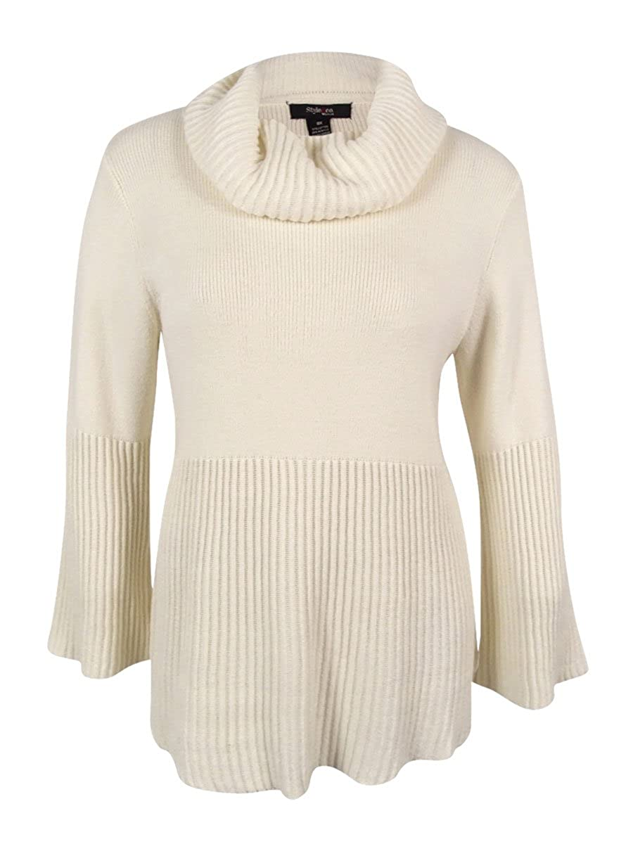Style & Co. Womens Plus Cowl Neck Bell Sleeve Pullover Sweater Ivory 1X