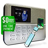Timedox Silver D Biometric Fingerprint Time Clock for Employees | $0 Monthly Fee | One Time Payment for The Software Required | Include USB Flash Drive & Dynamic Reports Creator | USA Support