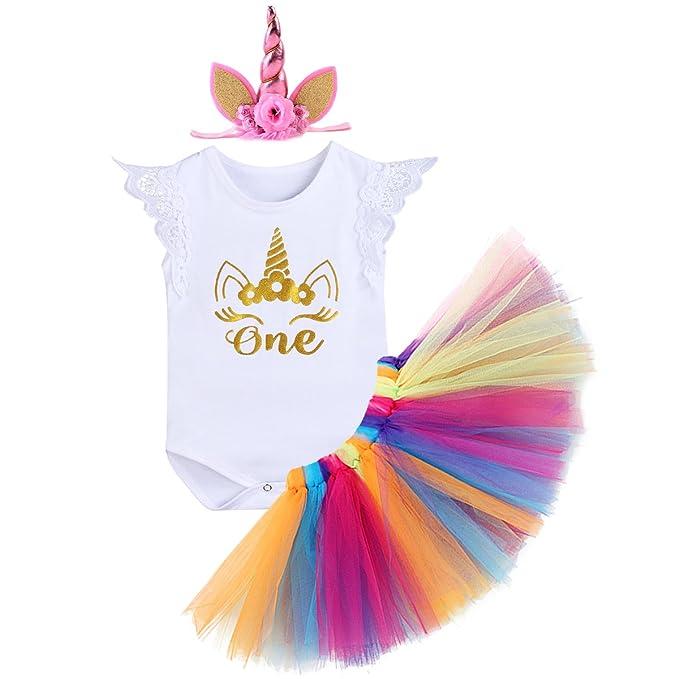 2bc47a384 IWEMEK Bebé Niñas 1er Cumpleaños Princesa Unicornio Trajes de Fiesta 3pcs  Conjunto de Mameluco + Falda