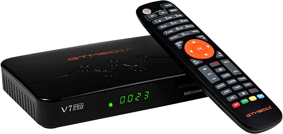 GT MEDIA V7 Plus Updated GT MEDIA V7 PRO Free to air Digital Satellite Receiver FTA DVB-S//S2//S2X with Antenna WiFi USB CA Card Slot Full HD 1080p H.265 HEVC 10bit Support YouTube CCcam autoBiss