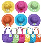 Sunflower Straw Girls Tea Party Sun Hat and Purse Sets. Includes 6 Purses & 6 Daisy Flower Sunhats(Assorted Colors