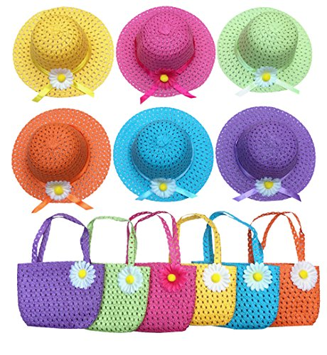 Jund Girls Tea Party Hats Purse Kids Child Babe Little Playtime Birthdays Easter Party Supplies Accessories, Includes 6 Purses 6 Daisy Flower Sunhats(Blue, Rose, Red, Yellow, Purple, Pink) -