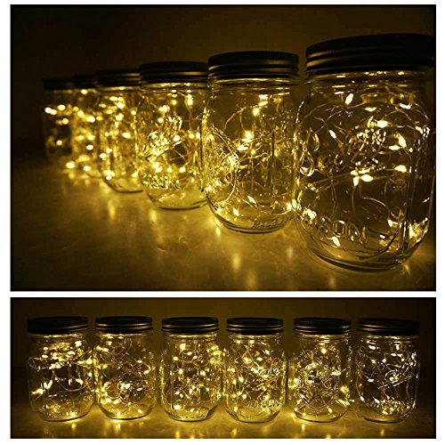 6 Pack Mason Jar Lights 10 LED Solar Warm White Fairy String Lights Lids Insert for Patio Yard Garden Party Wedding Christmas Decorative Lighting Fit for Regular Mouth Jars(Jars Not Included) by Decem (Image #4)