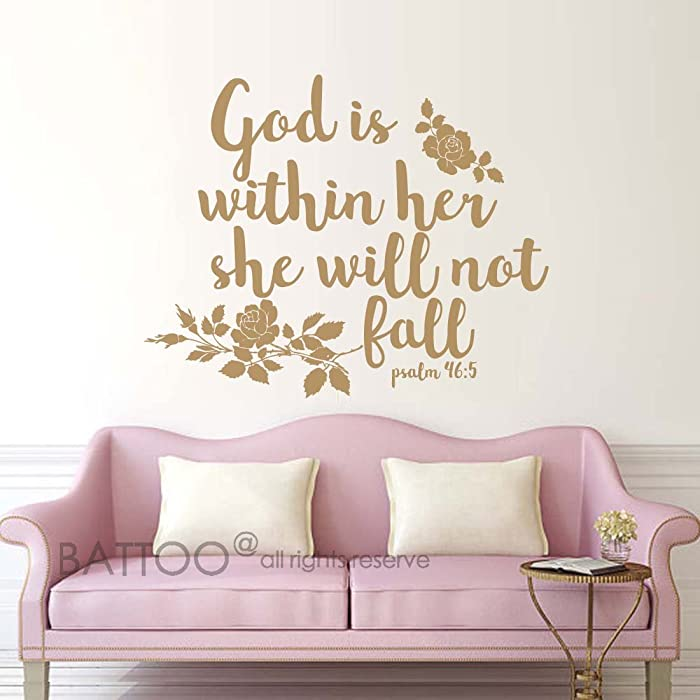 "BATTOO Psalm 46:5 Bible Wall Decal Quote - God is Within her she Will not Fall - Teen Girl Vinyl Decal Religious Wall Art Christian Word Vinyl Lettering(Gold, 20""WX16""H)"